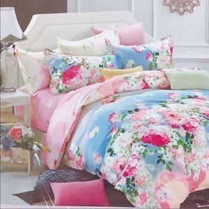 Cotton Duvet Watercolor Floral Peonies size King